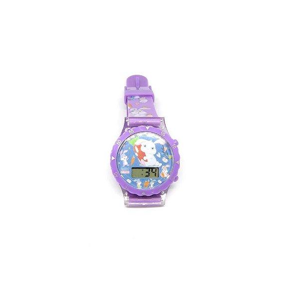 Relógio Infantil Prorider Roxo com Estampa de Coelhinhos - RLIRX2020