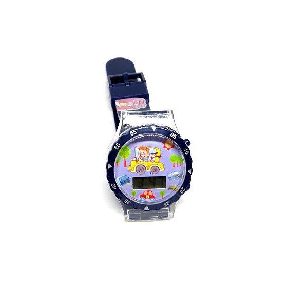 Relógio Infantil Prorider Azul com Estampa de Carrinho - RLIAZ2020