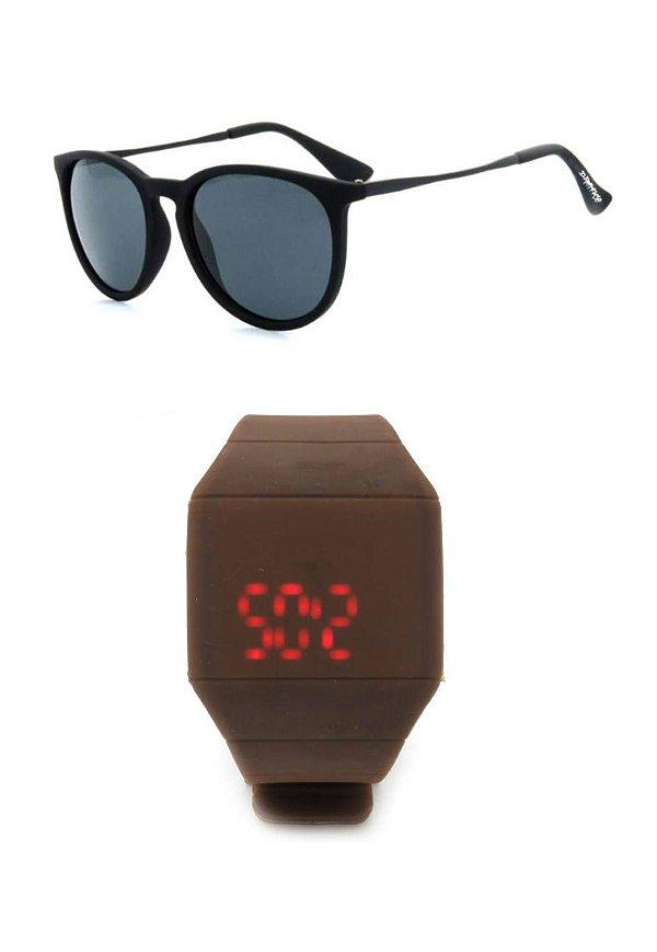 Kit Relógio Preto Prorider com Óculos de Sol Preto - KITMLMOCPT