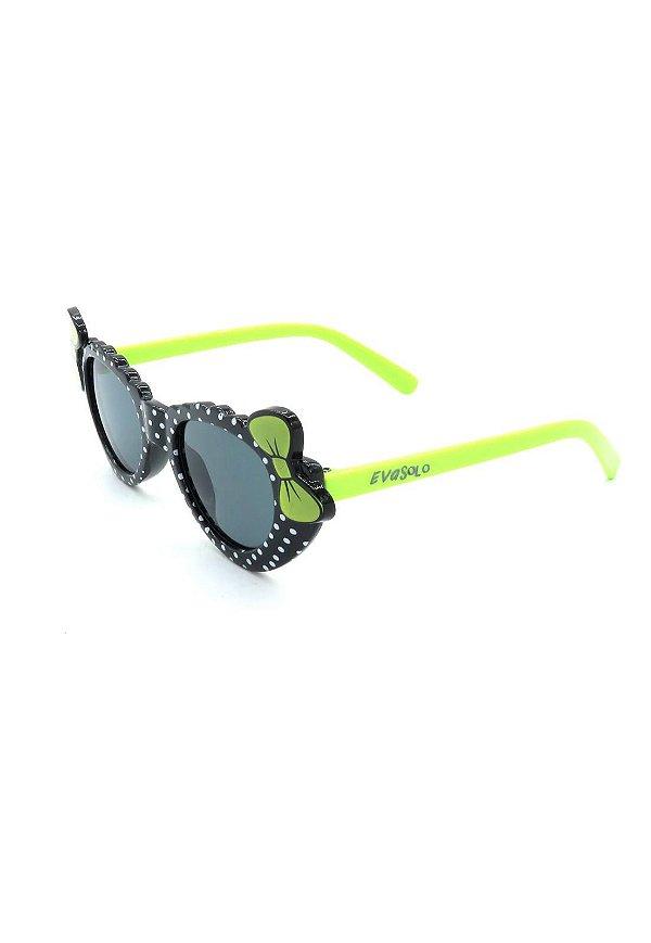 Óculos Solar evasolo Infantil verde e preto com bolinhas - PTVDB