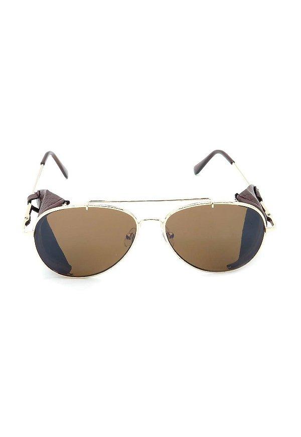 Óculos de Sol Prorider Dourado e Marrom Redondo - DO71087C2