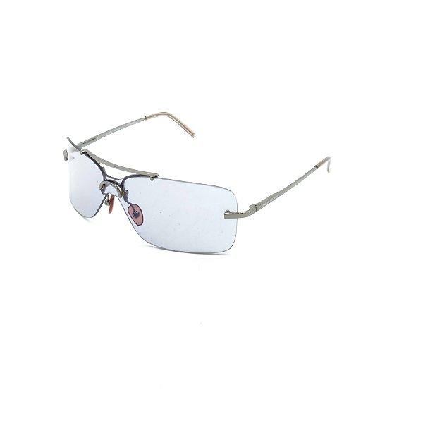 Óculos de Sol Prorider Retrô Prata Com Lente Espelhada Prata - OU32239