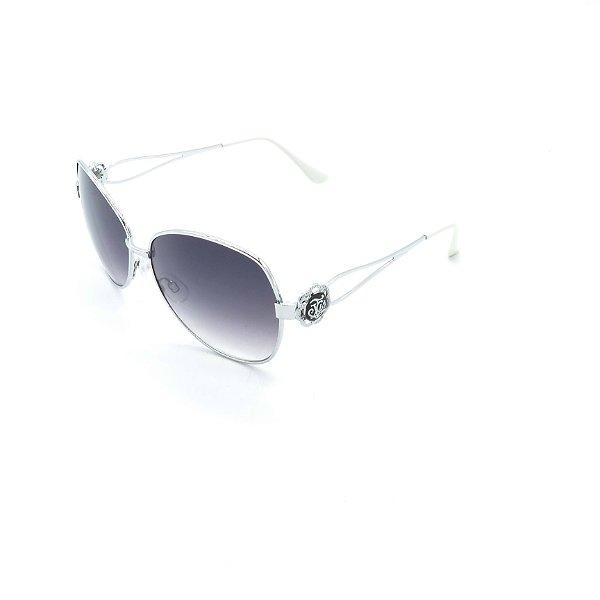 Óculos de Sol Prorider Prata Detalhado com Lente Degradê Fumê - RM6043FD