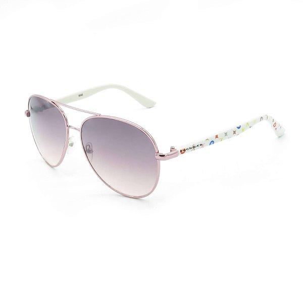 Óculos de Sol Prorider Detalhado Rosê e Branco com Lente Degradê Rosê - RM8045