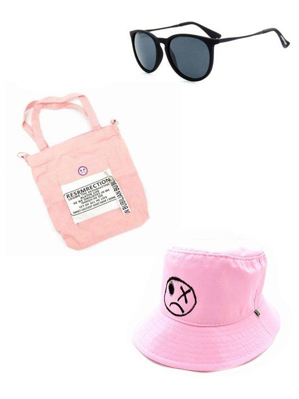 Kit Chapeu bucket Dark Face rosa com desenhos com Óculos de Sol Preto e bolsa rosa- KITDKFBUCKETR