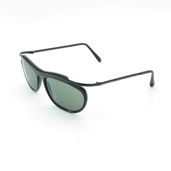 Óculos de Sol Prorider Retrô Preto Brilhante com Lente Fumê Esverdeada  - FM1346