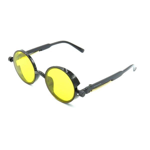 Óculos de Sol Prorider Preto Detalhado com Lente Fumê Amarela - DNEB1543
