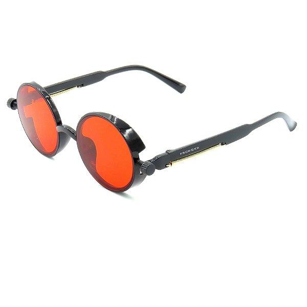 Óculos de Sol Prorider Preto Detalhado com Lente Fumê Vermelha - DNEB1545