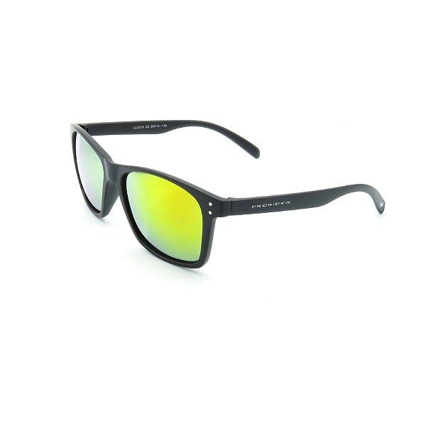 Óculos de Sol Prorider Preto Fosco Detalhado com Lente Espelhada Amarela - 4439-2