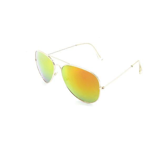 Óculos Solar Prorider Dourado Com Lente Espelhada Laranja - T3026C2
