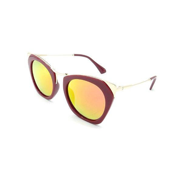 Óculos Solar Prorider Vinho e Dourado com Lente Espelhada Colorida - B030-A722