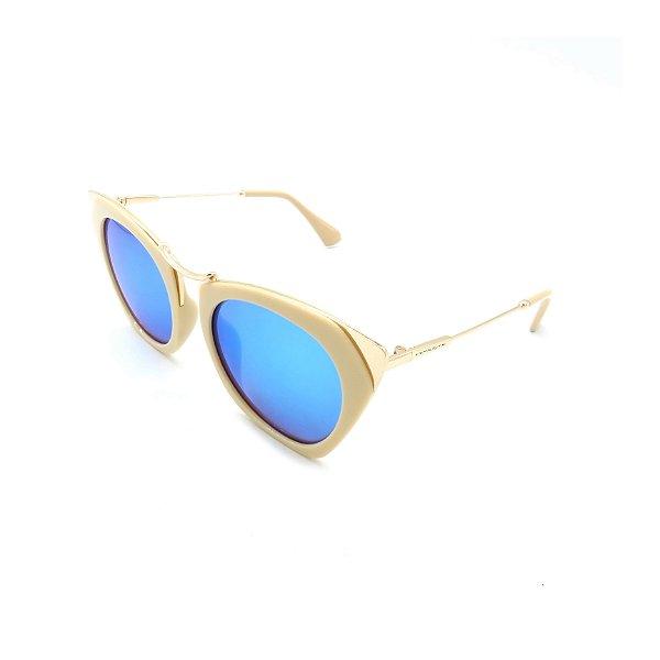 Óculos Solar Prorider Dourado com Lente Espelhada Azul - B030-A723