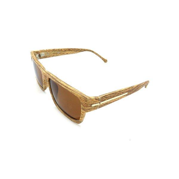 Óculos de Sol Prorider Retrô Detalhe de Madeira com Lente Fumê Marrom - 5119-60