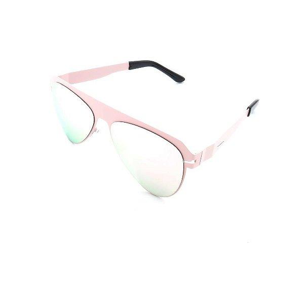 Óculos Solar Prorider Retrô Rosê Com Lente Espelhada Prata - 26418C4