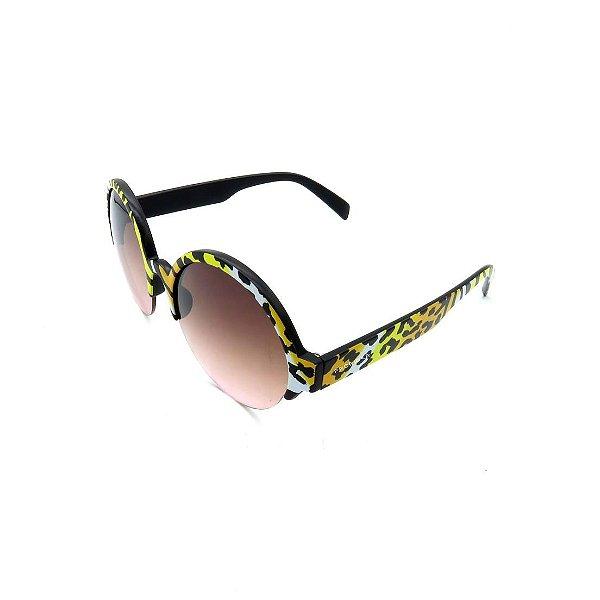 Óculos Solar Prorider Retrô Animal Print Com Lente Degradê Marrom - B88-1178