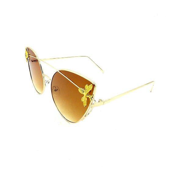 Óculos Solar Prorider Dourado Detalhado Com Lente Degradê Marrom - 7782-C1