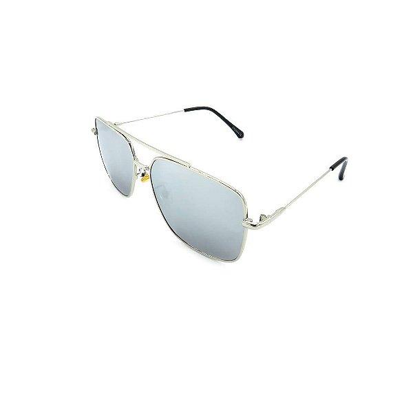 Óculos Solar Prorider Prata Com Lente Espelhada Cinza - CF28044