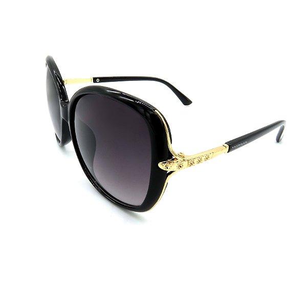 Óculos Solar Prorider Preto e Dourado Com Lente Degradê Fumê - HF8194
