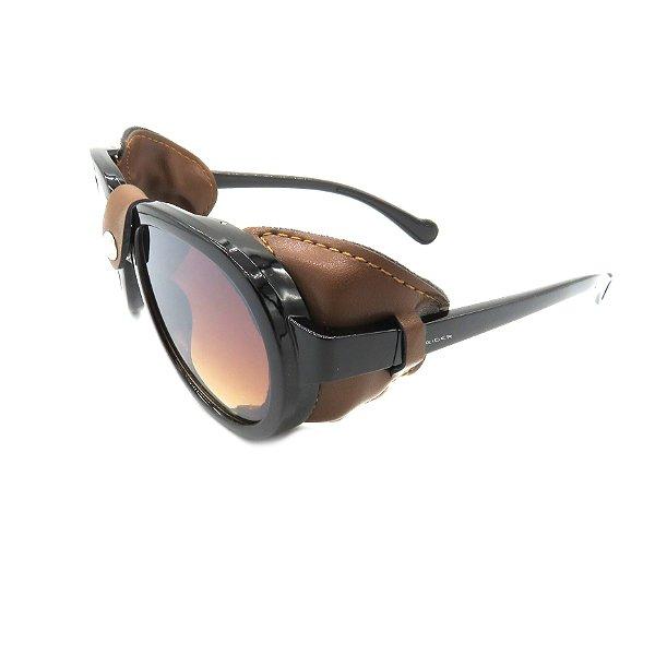 Óculos Solar Prorider Retrô Detalhado Preto com Lente Degradê Marrom - HP1837-C4