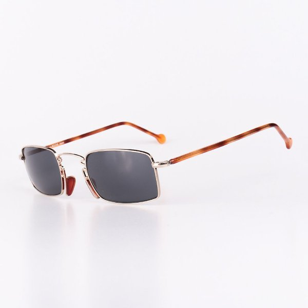 Óculos Solar Robert La Roche Vintage Prata e Marrom Rajado com Lentes Fumê - CA116C3