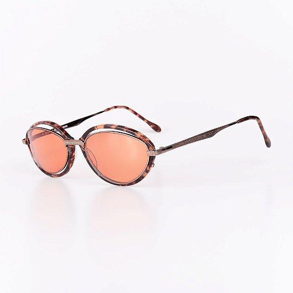 Óculos Solar Robert La Roche Vintage Prata e Marrom Rajado com Lentes Laranja - CA1261C3