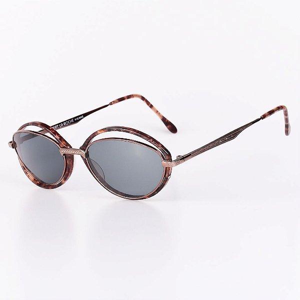 Óculos Solar Robert La Roche Vintage Prata e Marrom Mesclado com Lentes Fumê - CA126C2