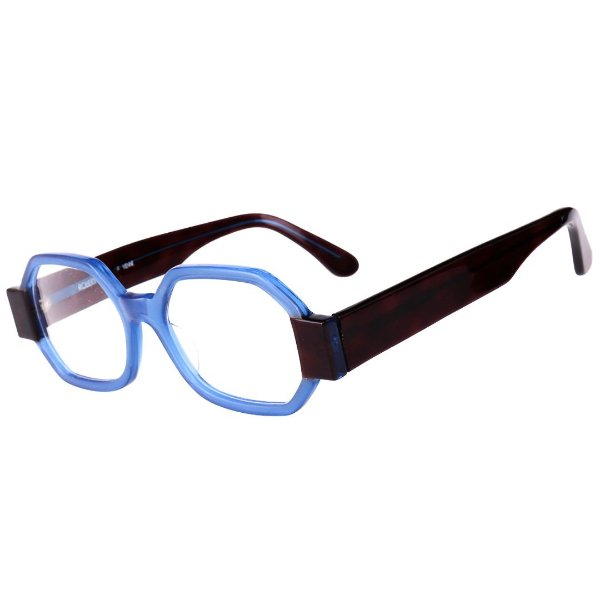 Óculos Receituário Robert La Roche Retrô Azul e Preto com Lentes de Apresentação - CA103C2