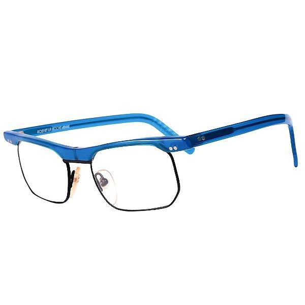 Óculos Receituário Robert La Roche Vintage Azul e Preto com Lentes de Apresentação - CA167C1