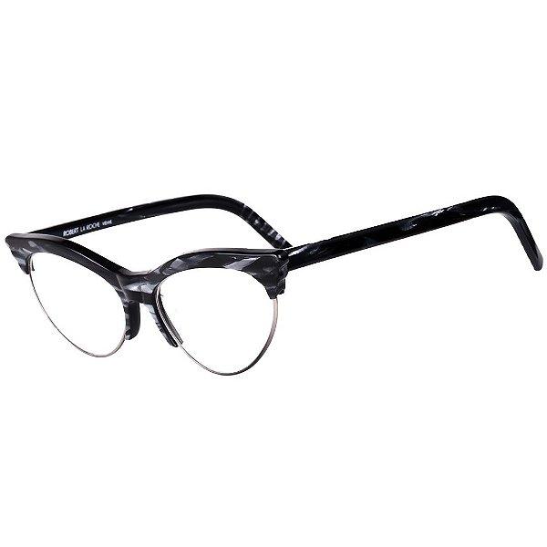 Óculos Receituário Robert La Roche Vintage Preto e Branco Rajado com Lentes de Apresentação - LR262C1