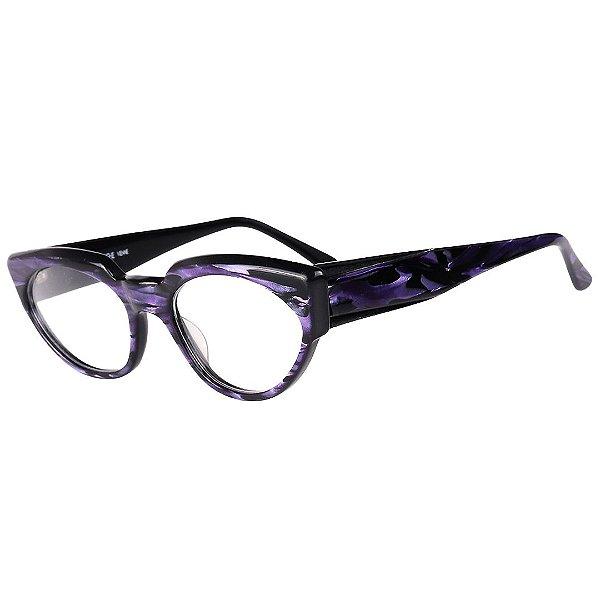 Óculos Receituário Robert La Roche Retrô Preto e Roxo Rajado com Lentes de Apresentação - LR257C2