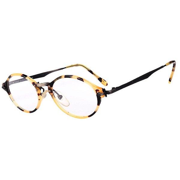 Óculos Receituário Robert La Roche Vintage Preto e Amarelo Mesclado com Lentes de Apresentação - CA117C1