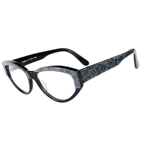 Óculos Receituário Robert La Roche Retrô Preto Detalhado com Lentes de Apresentação - LR252C2