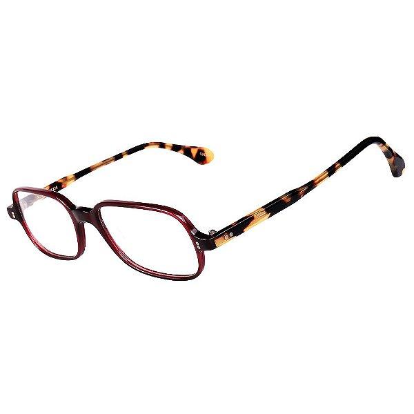 Óculos Receituário Robert La Roche Retrô Vinho, Preto e Amarelo Mesclado com Lentes de Apresentação - CA140C1