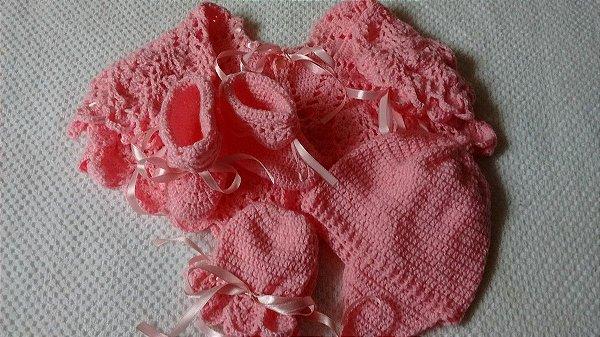 Conjunto Em Crochê Para Bebê rosa