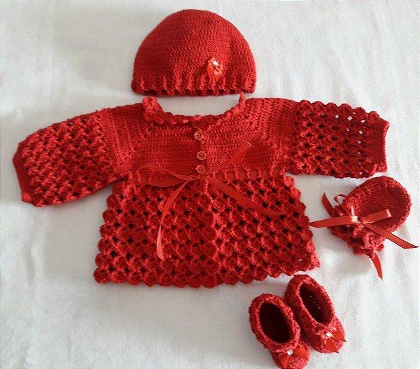 Conjunto Em Crochê Para Bebê vermelho royal