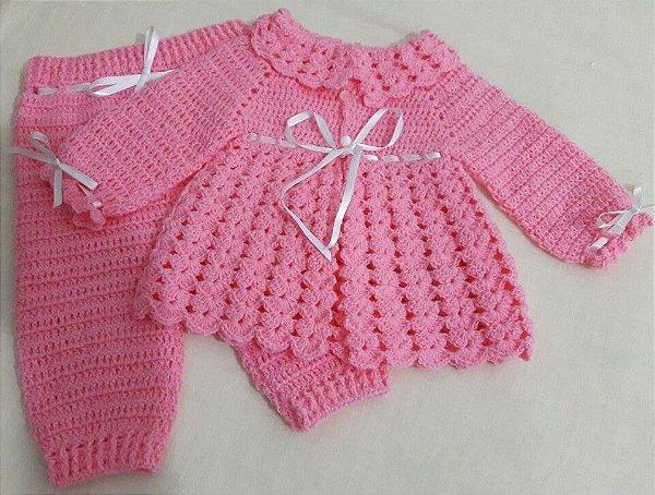 DUPLICADO - Conjunto Em Crochê Para Bebê rosa princesa