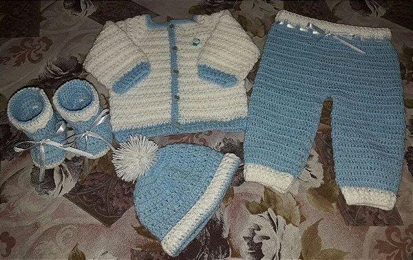 Conjunto Em Crochê Para Bebê azul príncipe