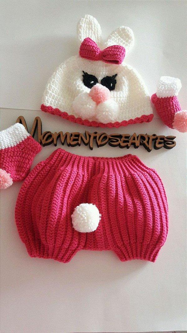 Conjunto Em Crochê Para Bebê Coelhinho