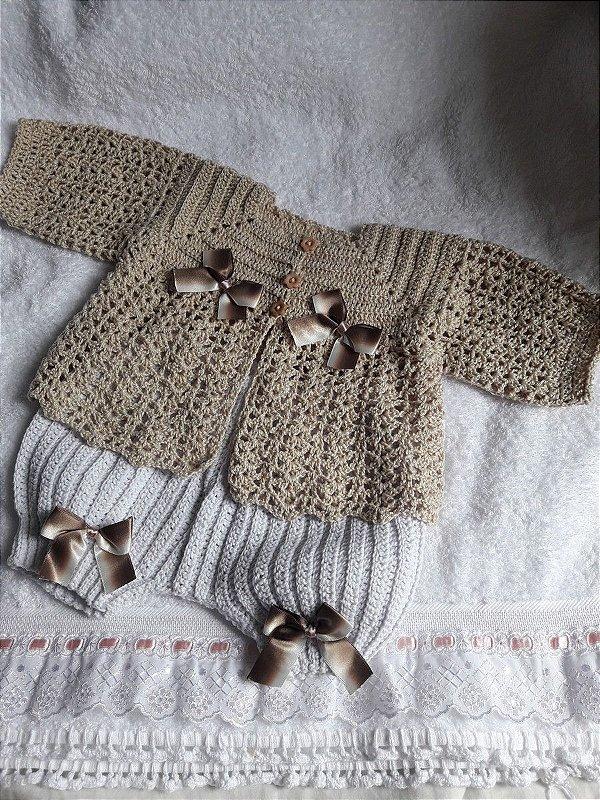 Conjunto Em Crochê Para Bebê champanhe