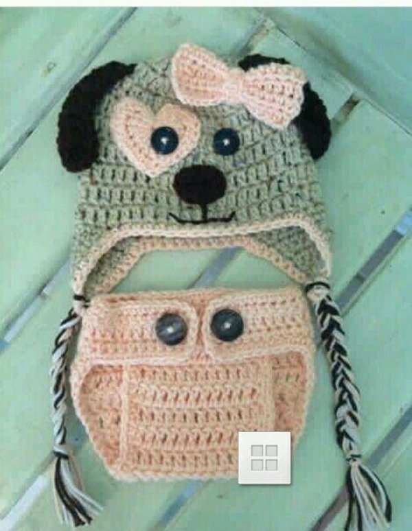 Conjunto Em Crochê Para Bebê Cachorrinho carinhoso