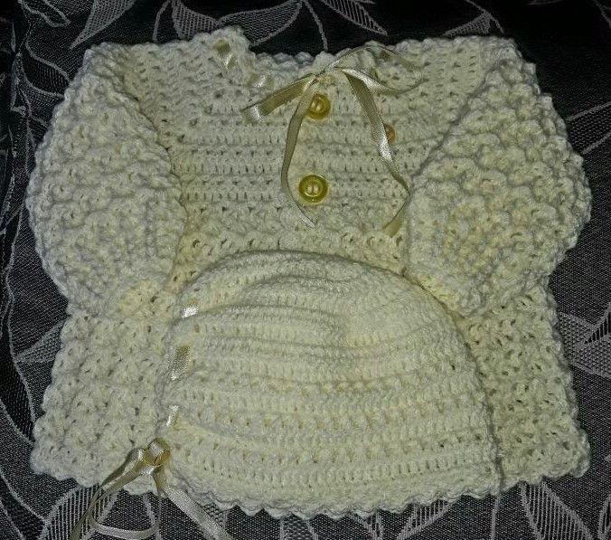 Conjunto Em Crochê Para Bebê  amarelo