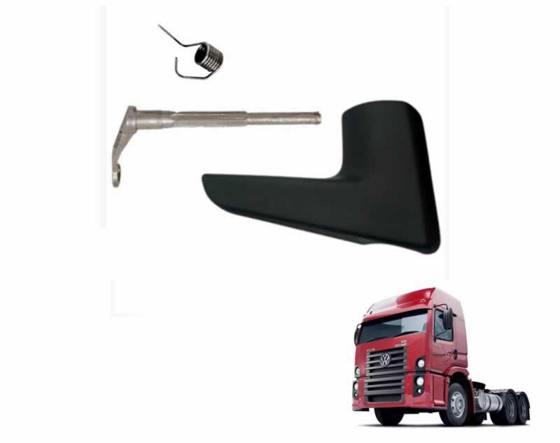 Kit maçaneta interna porta c/ mola e alavanca - grafite - Lado Passageiro LD - VW Constelation - 2R2837116A 2R2837296