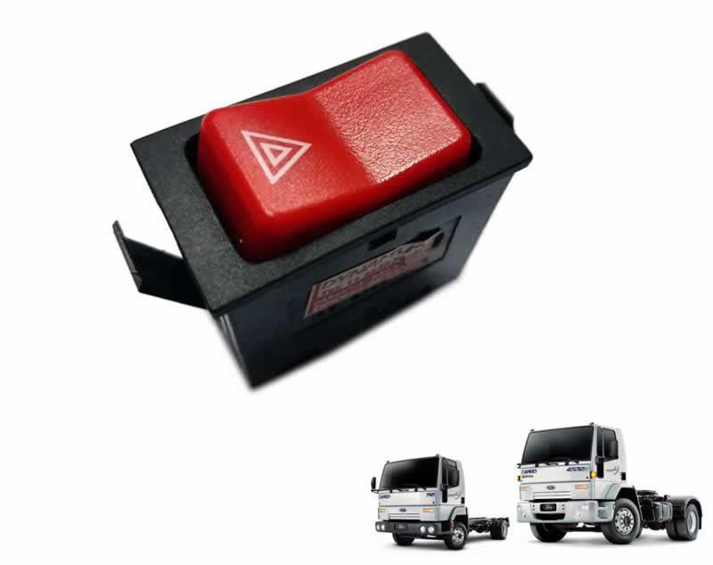 Botão Luz Emergência Pisca Alerta 12V Caminhão Ford Cargo 815 815e 1215 1317e 4030 2628e 4C4513A350AB
