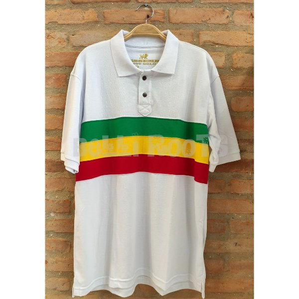 Camiseta Polo Faixa Reggae Branca