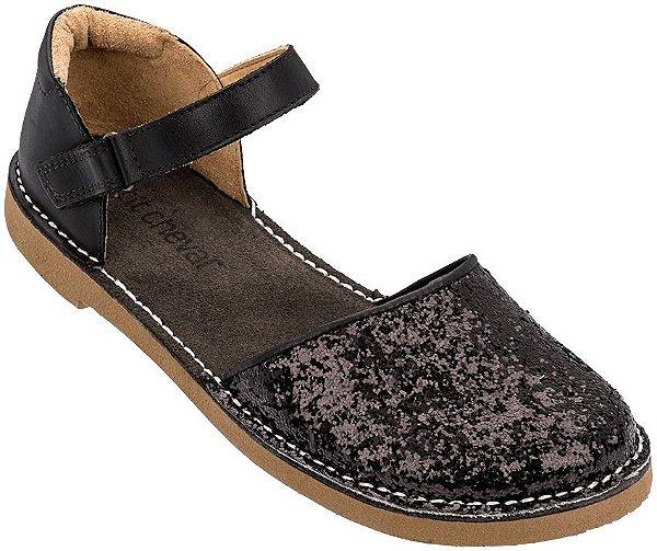 Sapato Infantil Ciranda em Couro Glitter Preto
