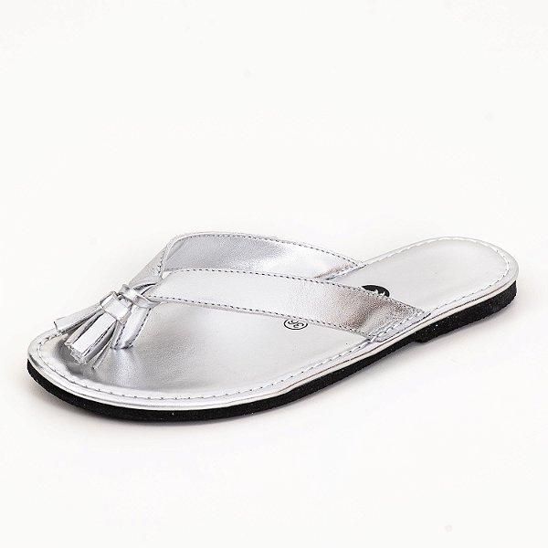 Rasteira Flip Flop Barcelona Couro Silver