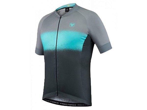 Camisa Free Force Sport Smear Cinza e Fluor