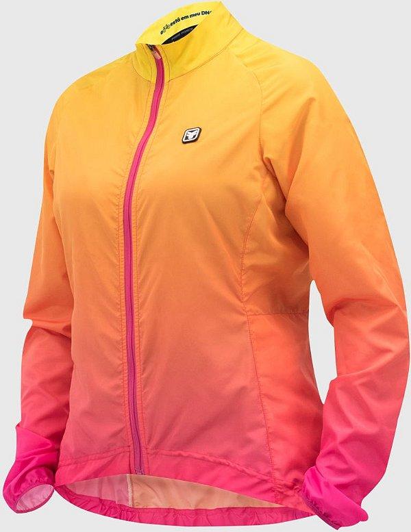 Jaqueta Corta Vento Free Force Fit Gradient Rosa/Amarelo