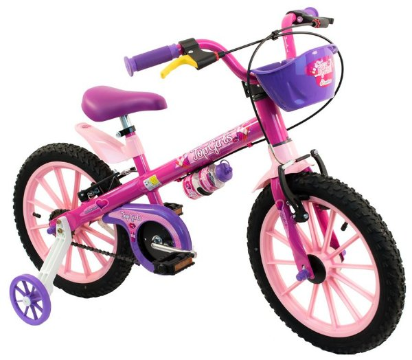 Bicicleta Aro 16 Nathor Top Girls Rosa Cesta