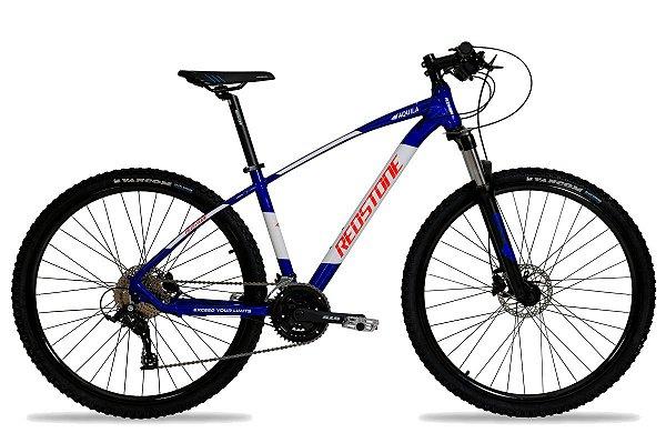 Bicicleta Aro 29 Redstone Aquila 27V Azul/Branco/Vermelho